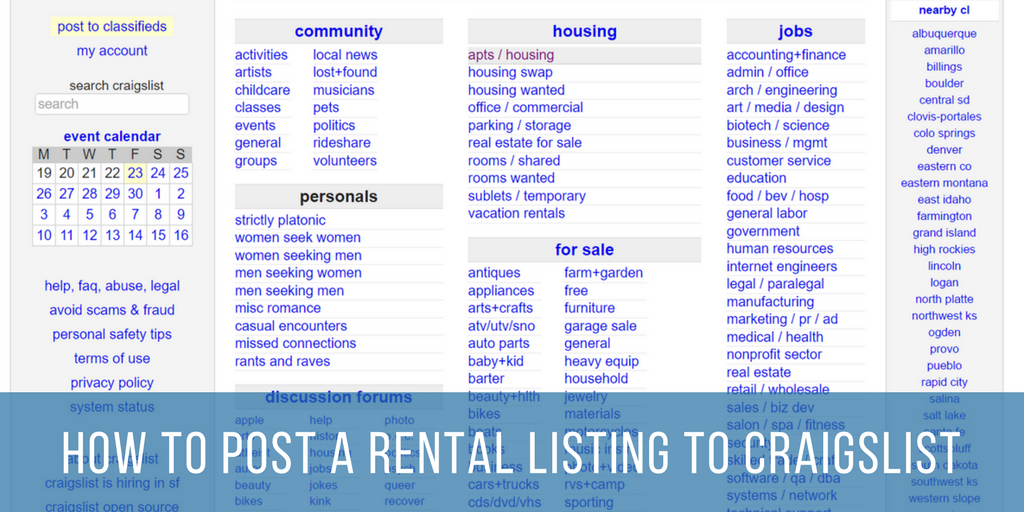 How To Post A Rental Listing To Craigslist
