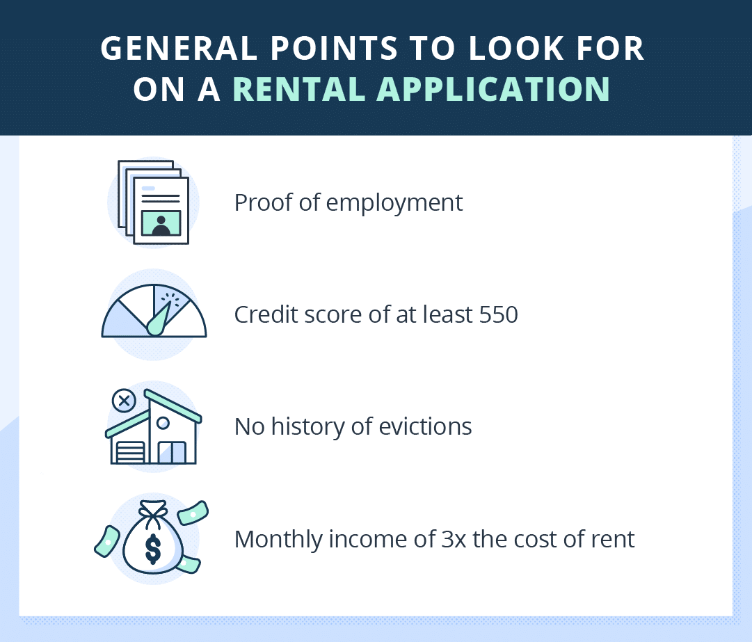 illustrated list of points to look for on a rental application