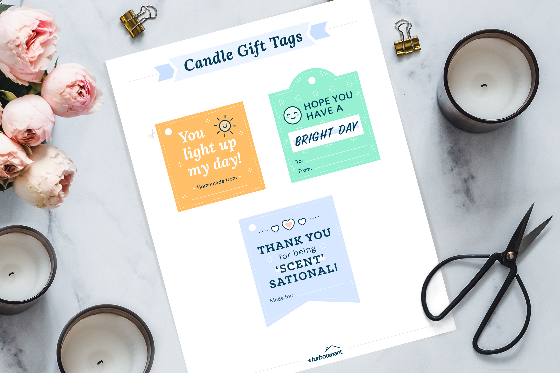 candle gift tags on white background