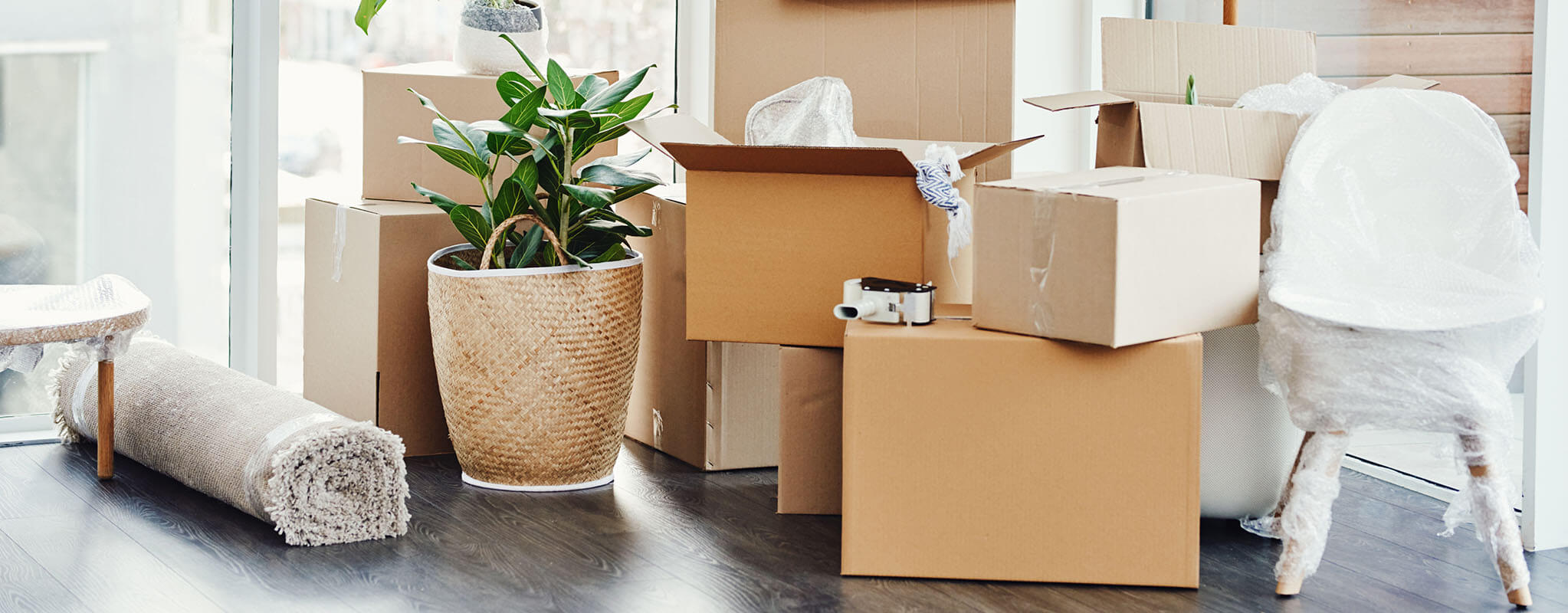 apartment with moving boxes